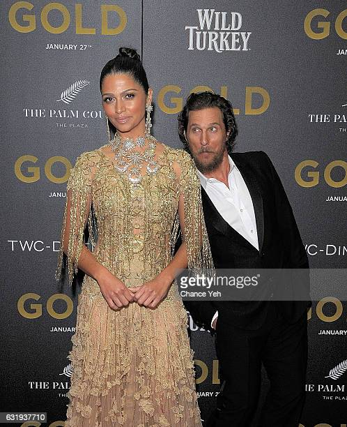 Camila Alves and Matthew McConaughey attend the world premiere of Gold hosted by TWCDimension at AMC Loews Lincoln Square 13 theater on January 17...