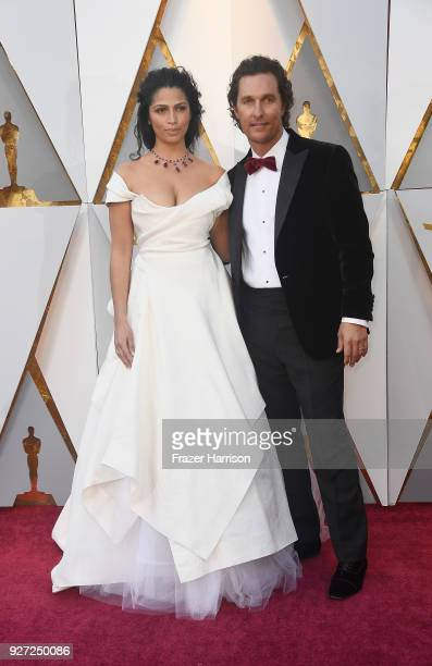 Camila Alves and Matthew McConaughey attendhe 90th Annual Academy Awards at Hollywood Highland Center on March 4 2018 in Hollywood California