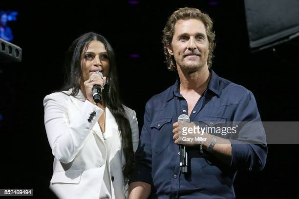Camila Alves and Matthew McConaughey emcee the 'Texas Strong Hurricane Harvey Can't Mess With Texas' benefit at The Frank Erwin Center on September...