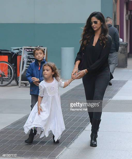 Camila Alves are seen out in Tribeca with Levi Alves McConaughey and Vida Alves McConaughey on October 5, 2015 in New York City.