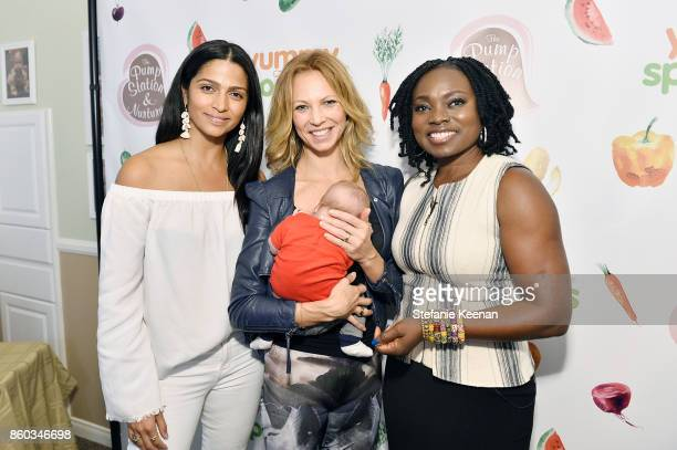 Camila Alves Birte Glang and Agatha Achindu attend First Foods 101/Yummy Spoonfuls at Pump Station Nurtury on October 11 2017 in Los Angeles...