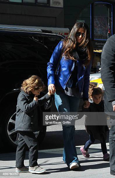 Camila Alves is seen with her children, Levi Alves McConaughey and Vida Alves McConaughey on March 15, 2013 in New York City.