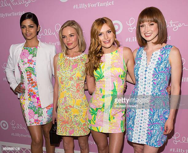Camila Alves Kate Bosworth Bella Thorne and Ellie Kemper attend the Lilly Pulitzer for Target Launch at Bryant Park Grill on April 15 2015 in New...
