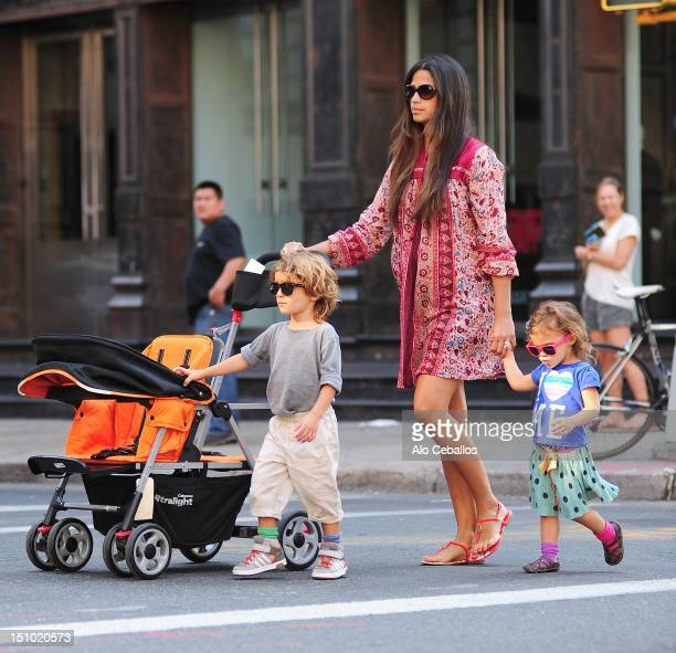 Camila Alves Levi Alves McConaughey and Vida Alves McConaughey are seen in Manhattan on August 30 2012 in New York City