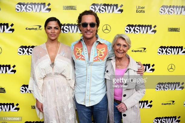 """Camila Alves, Matthew McConaughey and Kay McConaughey attend the premiere of """"The Beach Bum"""" at the Paramount Theatre during the SXSW Conference And..."""
