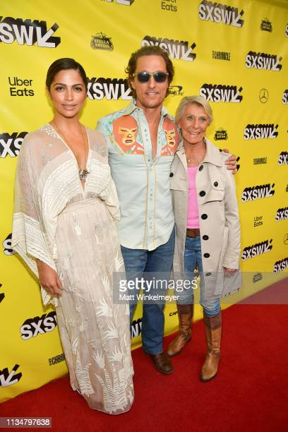 Camila Alves Matthew McConaughey and Mary Kathlene McCabe attend the The Beach Bum Premiere 2019 SXSW Conference and Festivals at Paramount Theatre...