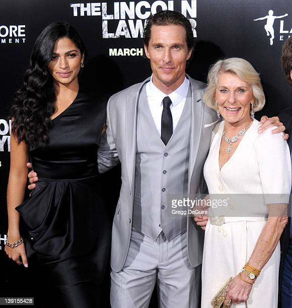 Camila Alves Matthew McConaughey and mom Mary Kathleen McCabe arrive at the Los Angeles Premiere of The Lincoln Lawyer at the ArcLight Hollywood on...