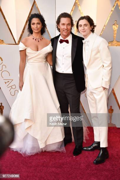 Camila Alves Matthew McConaughey and Timothee Chalamet attend the 90th Annual Academy Awards at Hollywood Highland Center on March 4 2018 in...