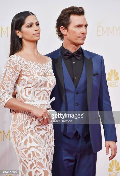 Camila Alves McConaughey and actor Matthew McConaughey attend the 66th Annual Primetime Emmy Awards held at Nokia Theatre LA Live on August 25 2014...