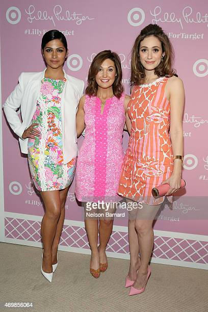 Camila Alves Vice President of Communications at Target Dustee Jenkins and actress Emmy Rossum attend the Lilly Pulitzer For Target Launch Event at...