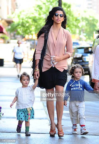 Camila Alves, Vida Mcconaughey and Levi Mcconaughey are seen in tribeca at Streets of Manhattan on June 27, 2012 in New York City.