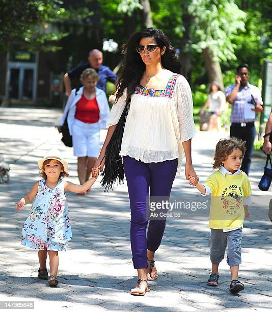 Camila Alves Vida Mcconaughey and Levi Mcconaughey are seen in central park on Streets of Manhattan on June 28 2012 in New York City