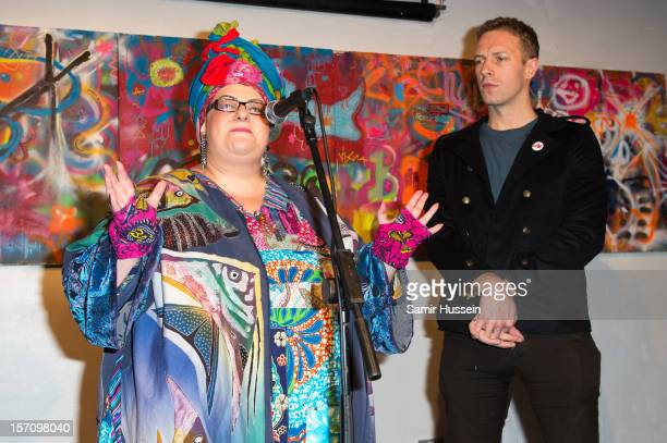 Camila Batmanghelidjh and Chris Martin of Coldplay give a speech at the private view of Coldplay Paris And Kids Company an exhibition showcasing work...