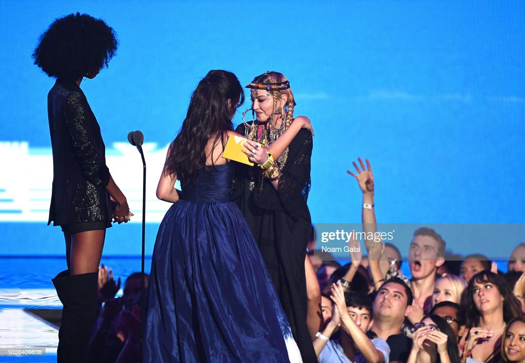 Camila Cabello accepts the award for Video of the Year from Madonna onstage during the 2018 MTV Video Music Awards at Radio City Music Hall on August 20, 2018 in New York City.