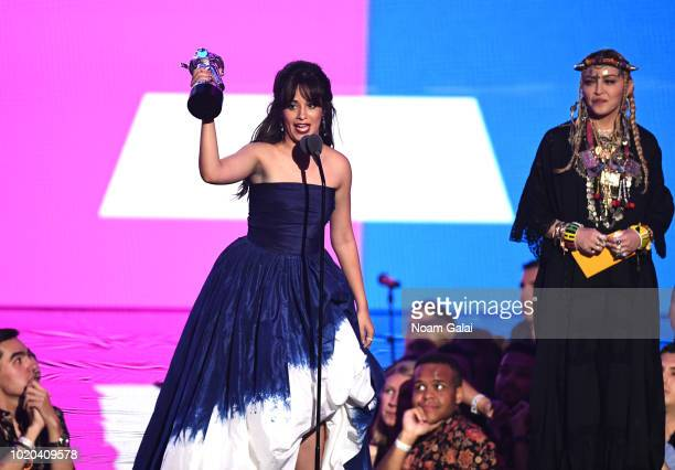 Camila Cabello accepts the award for Video of the Year onstage during the 2018 MTV Video Music Awards at Radio City Music Hall on August 20, 2018 in...