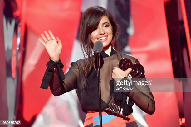 Camila Cabello accepts the Fan Girls Award onstage during the 2018 iHeartRadio Music Awards which broadcasted live on TBS, TNT, and truTV at The...