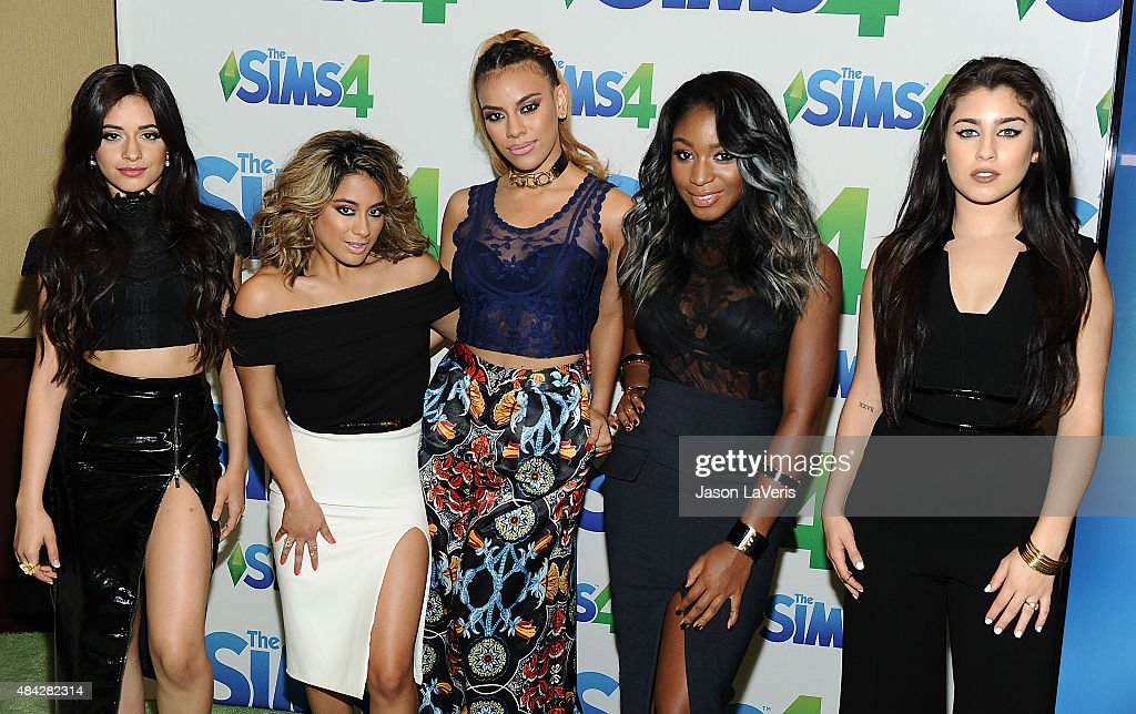 Camila Cabello, Ally Brooke, Dinah-Jane Hansenm, Normani Kordei and Lauren Jaureguiof Fifth Harmony pose in the green room at the 2015 Teen Choice Awards at Galen Center on August 16, 2015 in Los Angeles, California.