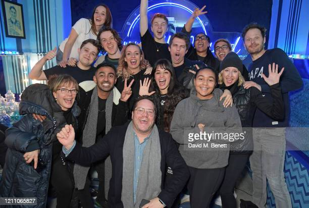 Camila Cabello and cast pose backstage at the press night performance of Dear Evan Hansen at Noel Coward Theatre on March 08 2020 in London England