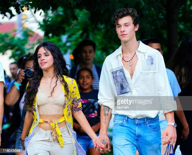 Camila Cabello and Shawn Mendes are seen on his 21st birthday on August 8 2019 in New York City