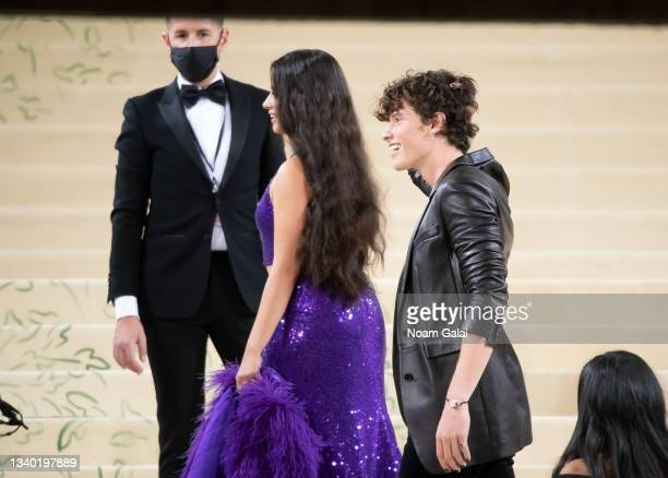 Camila Cabello and Shawn Mendes attend the 2021 Met Gala celebrating 'In America: A Lexicon of Fashion' at The Metropolitan Museum of Art on...