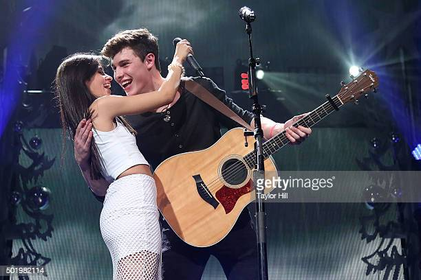 Camila Cabello and Shawn Mendes perform during Y100's Jingle Ball 2015 on December 18 2015 in Miami Florida
