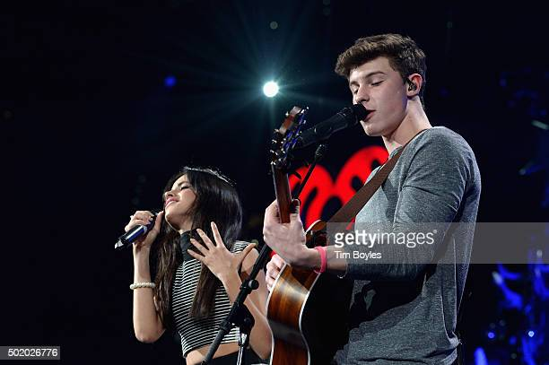 Camila Cabello and Shawn Mendes perform onstage during 93.3 FLZ's Jingle Ball 2015 Presented by Capital One at Amalie Arena on December 19, 2015 in...
