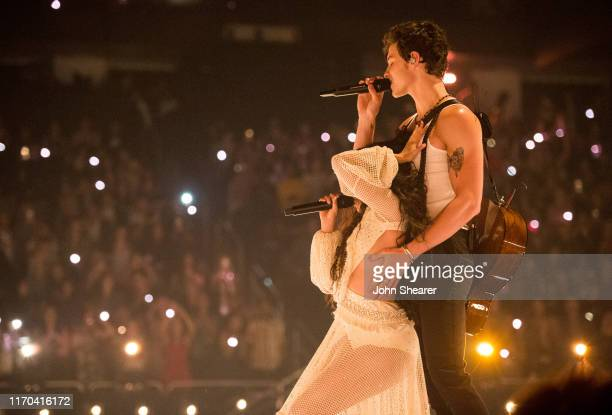 Camila Cabello and Shawn Mendes perform onstage during the 2019 MTV Video Music Awards at Prudential Center on August 26 2019 in Newark New Jersey