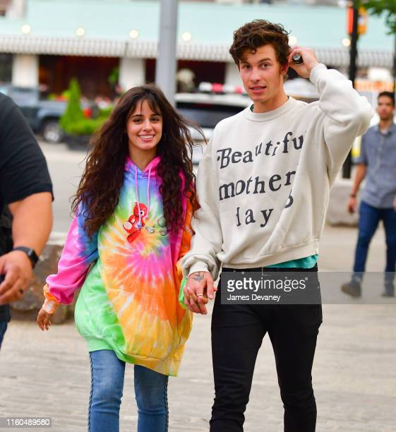 Camila Cabello and Shawn Mendes seen walking in Dumbo Brooklyn on August 9, 2019 in New York City.