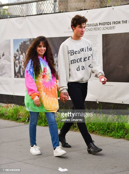 Camila Cabello and Shawn Mendes seen walking in Dumbo Brooklyn on August 9 2019 in New York City