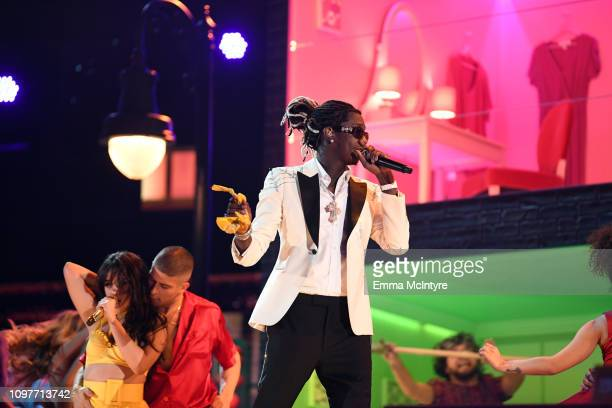 Camila Cabello and Young Thug perform onstage during the 61st Annual GRAMMY Awards at Staples Center on February 10 2019 in Los Angeles California