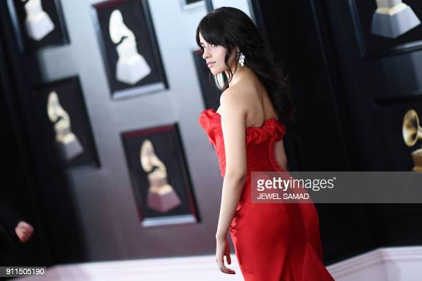 Camila Cabello arrives for the 60th Grammy Awards on January 28 in New York / AFP PHOTO / Jewel SAMAD