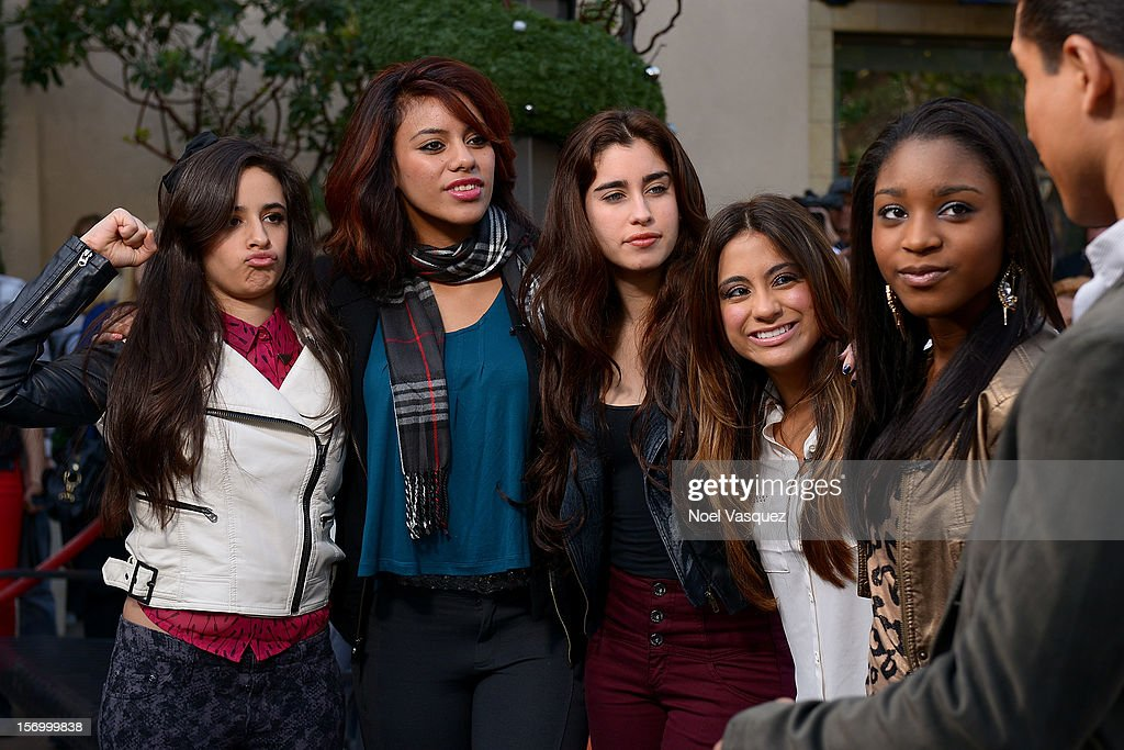 Camila Cabello, Dinah Jane Hansen, Lauren Jauregui, Ally Brooke and Normani Hamilton of Fifth Harmony visit 'Extra' at The Grove on November 26, 2012 in Los Angeles, California.
