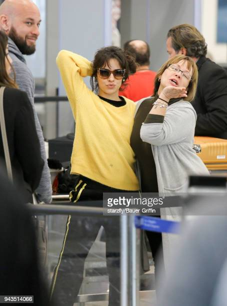 Camila Cabello is seen at LAX on April 08 2018 in Los Angeles California
