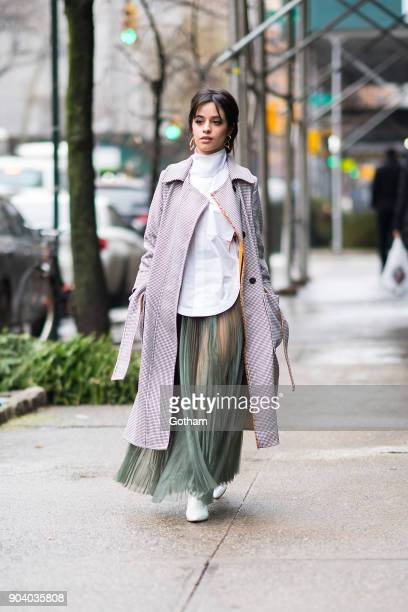 Camila Cabello is seen wearing Hyke and Stuart Weitzman in Union Square on January 11 2018 in New York City