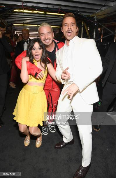 Camila Cabello J Balvin and Ricky Martin backstage during the 61st Annual GRAMMY Awards at Staples Center on February 10 2019 in Los Angeles...