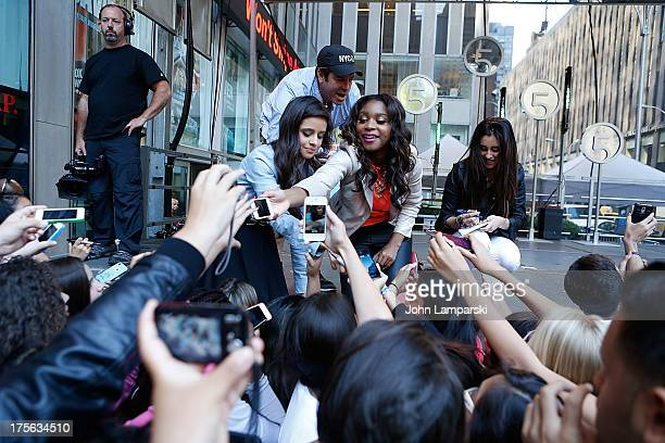 Camila Cabello Normani Hamilton and Lauren Jauregui perform during FOX Friends All American Concert Series outside of FOX Studios on August 5 2013 in...