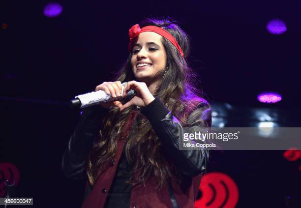 Camila Cabello of Fifth Harmony performs onstage during KISS 108's Jingle Ball 2013 at TD Garden on December 14 2013 in Boston MA
