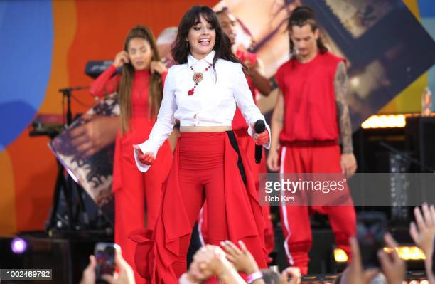 Camila Cabello performs on ABC's 'Good Morning America' at SummerStage at Rumsey Playfield Central Park on July 20 2018 in New York City