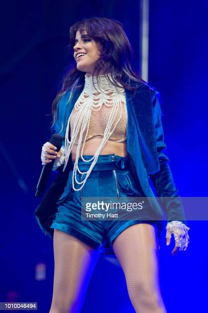 Camila Cabello performs on day one of Lollapalooza at Grant Park on August 2 2018 in Chicago Illinois