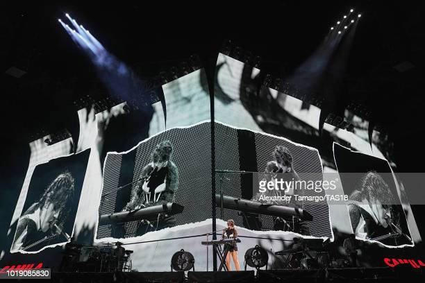 Camila Cabello performs on stage during the Taylor Swift reputation Stadium Tour at Hard Rock Stadium on August 18 2018 in Miami Florida