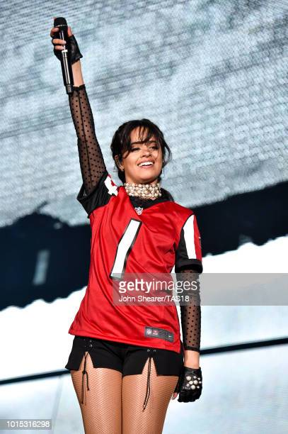 Camila Cabello performs onstage during the Taylor Swift reputation Stadium Tour at Mercedes-Benz Stadium on August 11, 2018 in Atlanta, Georgia.