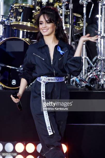 Camila Cabello performs onstage wearing an ACLU ribbon on NBC's 'Today' at Rockefeller Plaza on September 29 2017 in New York City