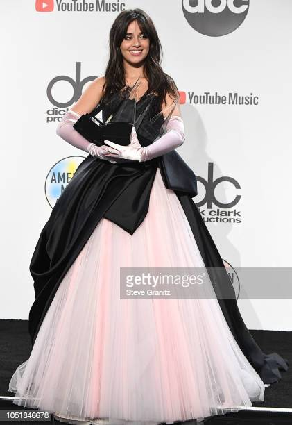 Camila Cabello poses at the 2018 American Music Awards at Microsoft Theater on October 9 2018 in Los Angeles California