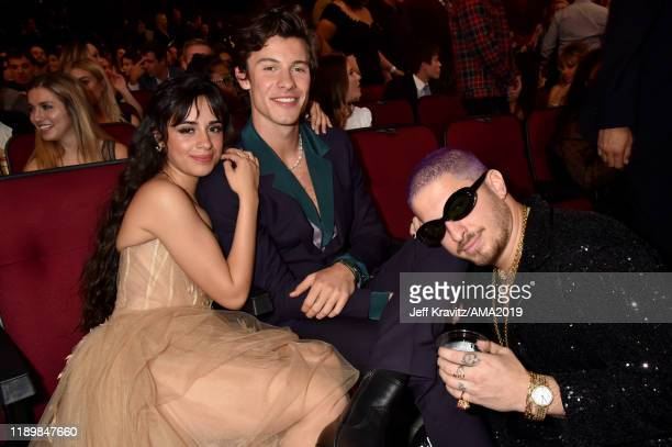 Camila Cabello Shawn Mendes and WATT attend the 2019 American Music Awards at Microsoft Theater on November 24 2019 in Los Angeles California