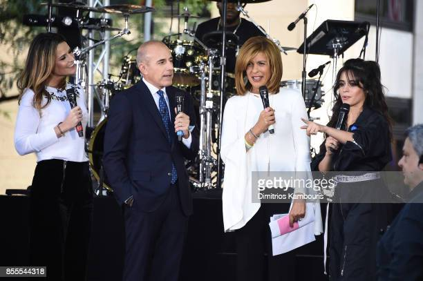 Camila Cabello speaks onstage with Savannah Guthrie Matt Lauer and Hoda Kotb while wearing an ACLU ribbon on NBC's 'Today' at Rockefeller Plaza on...