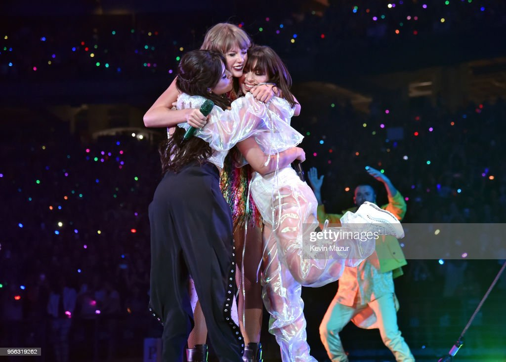 Camila Cabello, Taylor Swift and Charli XCX perform onstage during opening night of Taylor Swift's 2018 Reputation Stadium Tour at University of Phoenix Stadium on May 8, 2018 in Glendale, Arizona.