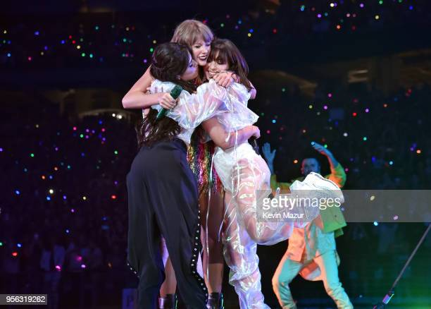 Camila Cabello Taylor Swift and Charli XCX perform onstage during opening night of Taylor Swift's 2018 Reputation Stadium Tour at University of...