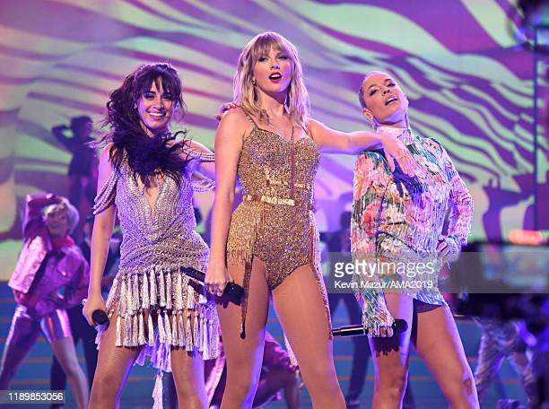 Camila Cabello Taylor Swift and Halsey perform onstage during the 2019 American Music Awards at Microsoft Theater on November 24 2019 in Los Angeles...
