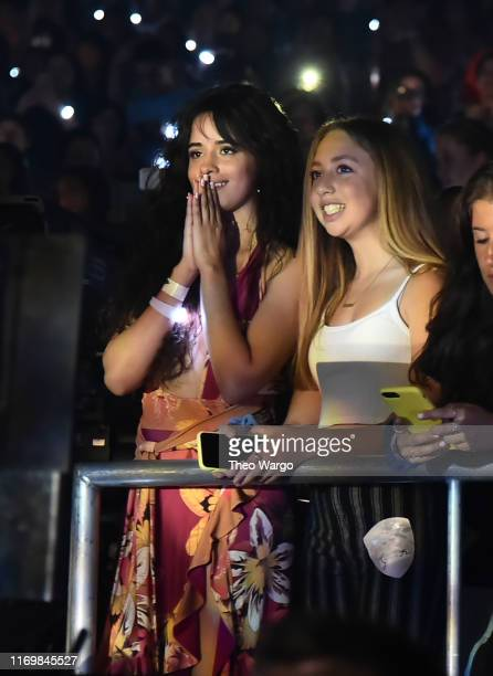 Camila Cabello watches Shawn Mendes perform at Barclays Center on August 23 2019 in Brooklyn New York