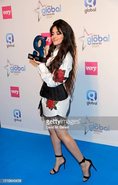 Camila Cabello winner of Best Female Award poses in the Winners Room during The Global Awards 2020 at the Eventim Apollo Hammersmith on March 05 2020...